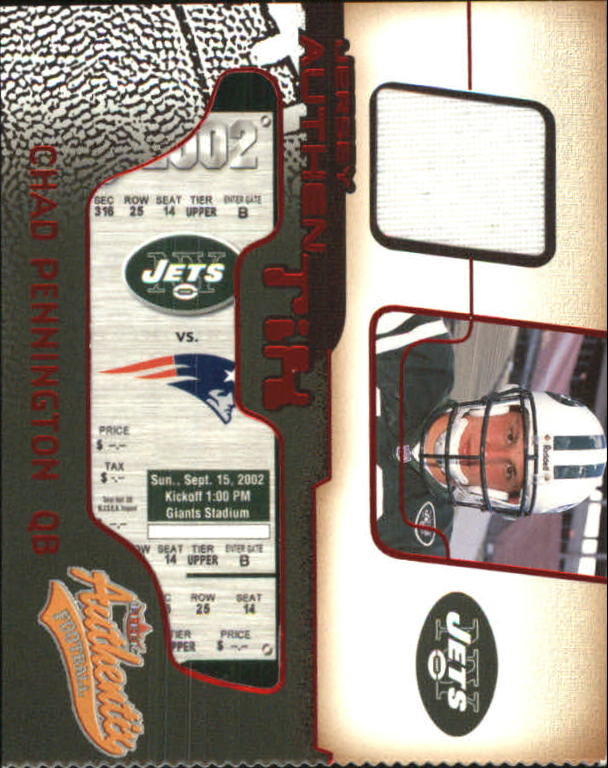 2002 Fleer Authentix Jersey Authentix Ripped #JACP Chad Pennington