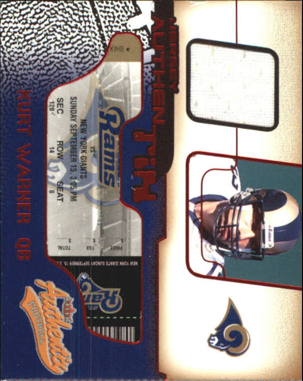 2002 Fleer Authentix Jersey Authentix Ripped #JAKW Kurt Warner