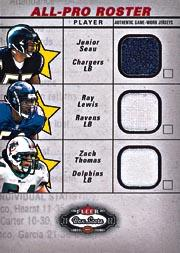 2002 Fleer Box Score All Pro Roster Jerseys #6 Junior Seau/Ray Lewis/Zach Thomas