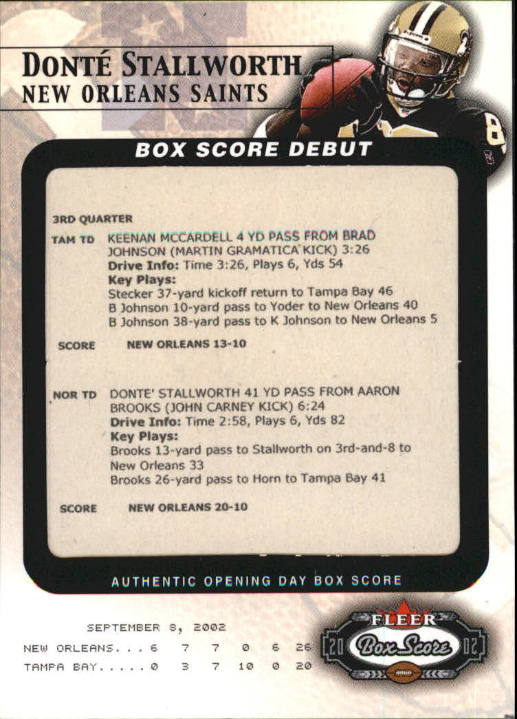 2002 Fleer Box Score Debuts #3 Donte Stallworth