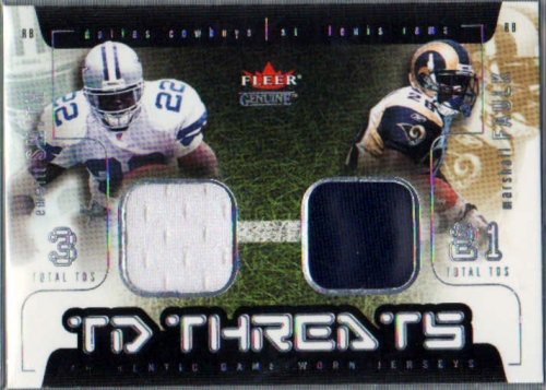 2002 Fleer Genuine TD Threats Jerseys #3 Emmitt Smith/Marshall Faulk