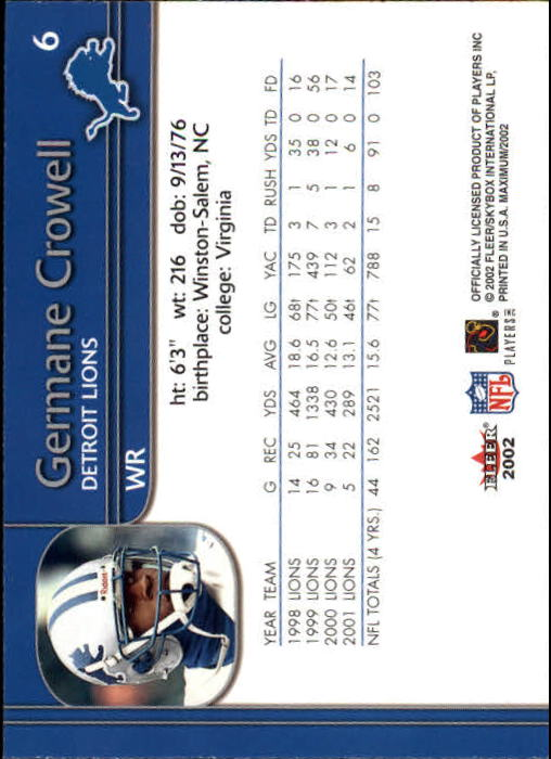 2002 Fleer Maximum #6 Germane Crowell back image