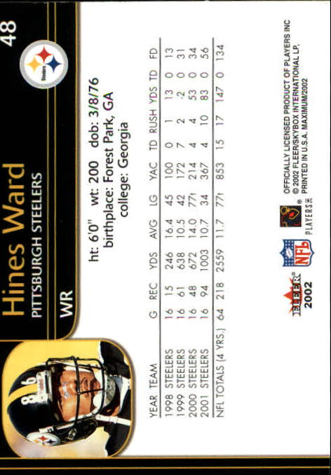 2002 Fleer Maximum #48 Hines Ward back image