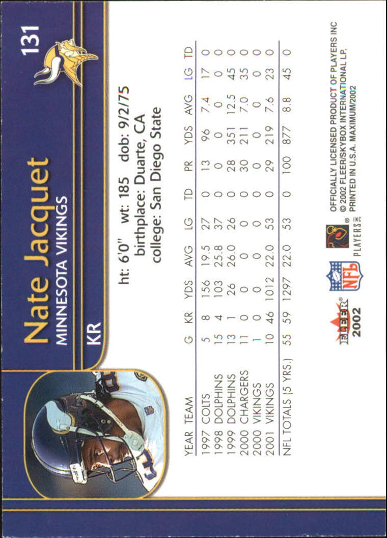 2002 Fleer Maximum To The Max #131 Nate Jacquet