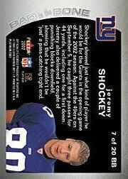 2002 Fleer Platinum Bad to the Bone #BB7 Jeremy Shockey back image