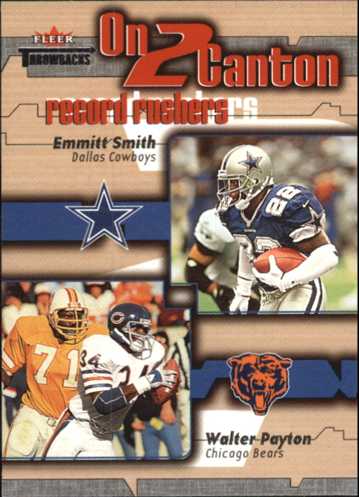 2002 Fleer Throwbacks On 2 Canton #1 Walter Payton/Emmitt Smith