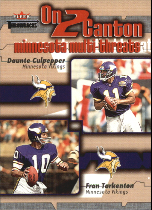 2002 Fleer Throwbacks On 2 Canton #3 Fran Tarkenton/Daunte Culpepper