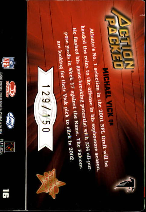 2002 Leaf Rookies and Stars Action Packed Gold #16 Michael Vick back image