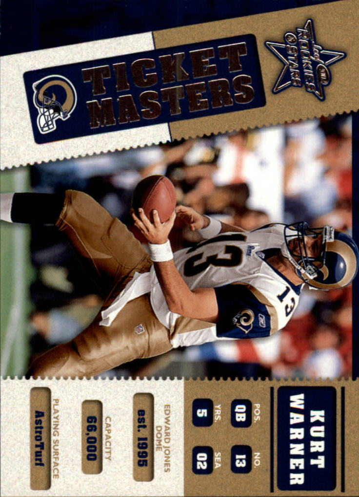 2002 Leaf Rookies and Stars Ticket Masters #TM19 Kurt Warner/Marshall Faulk