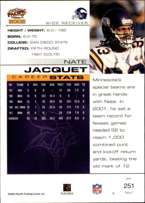 2002 Pacific #251 Nate Jacquet