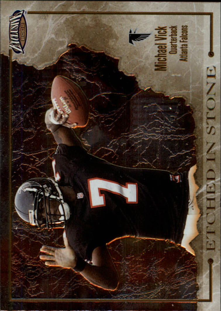 2002 Pacific Exclusive Etched in Stone #1 Michael Vick