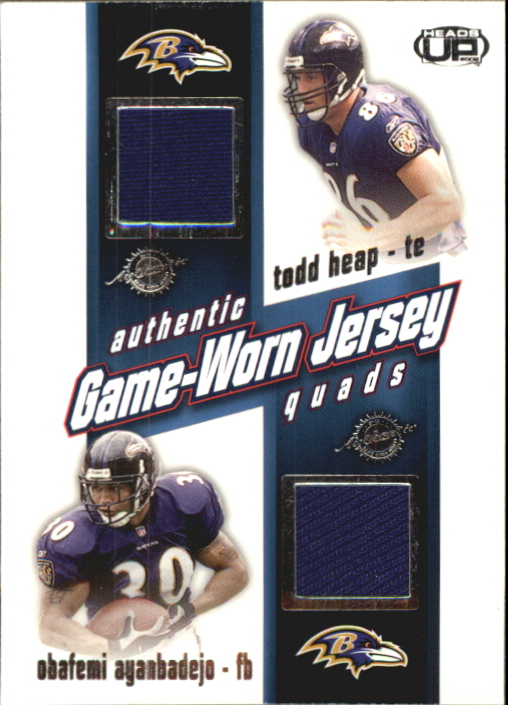 2002 Pacific Heads Up Game Worn Jersey Quads #3 Obafemi Ayanbadejo/Todd Heap/Chris Redman/Travis Taylor