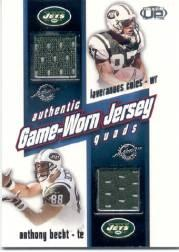 2002 Pacific Heads Up Game Worn Jersey Quads #24 Anthony Becht/Laveranues Coles/Curtis Martin/Chad Pennington