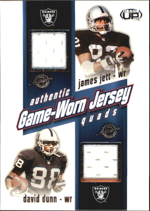 2002 Pacific Heads Up Game Worn Jersey Quads #26 David Dunn/James Jett/Randy Jordan/Jerry Porter
