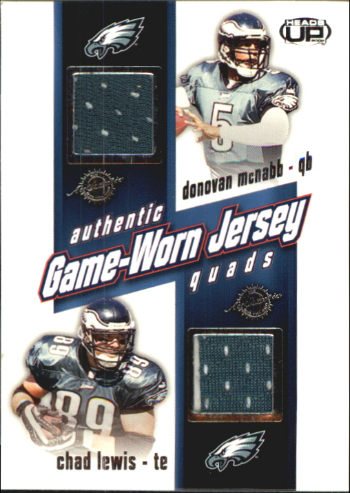 2002 Pacific Heads Up Game Worn Jersey Quads #27 Chad Lewis/Donovan McNabb/Brian Mitchell/Todd Pinkston