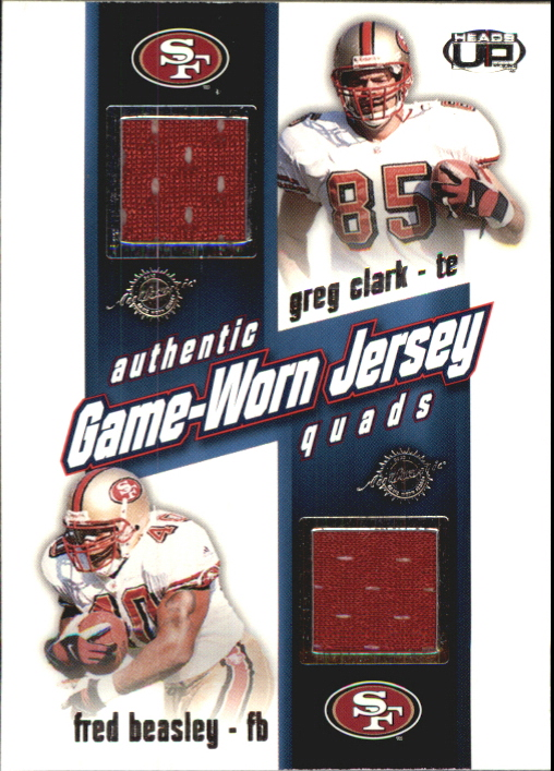 2002 Pacific Heads Up Game Worn Jersey Quads #33 Fred Beasley/Greg Clark/Paul Smith/Cedrick Wilson