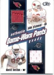 2002 Pacific Heads Up Game Worn Jersey Quads #39 David Boston/Jake Plummer/Corey Dillon/Peter Warrick