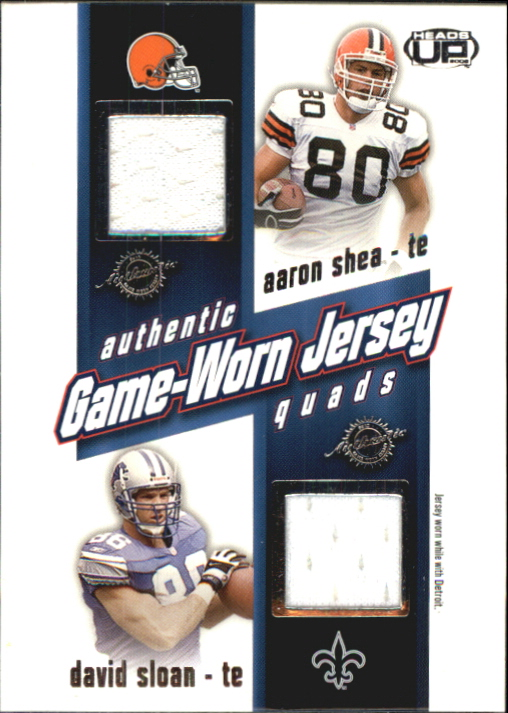2002 Pacific Heads Up Game Worn Jersey Quads #45 Aaron Shea/David Sloan/Pete Mitchell/Mark Breuner