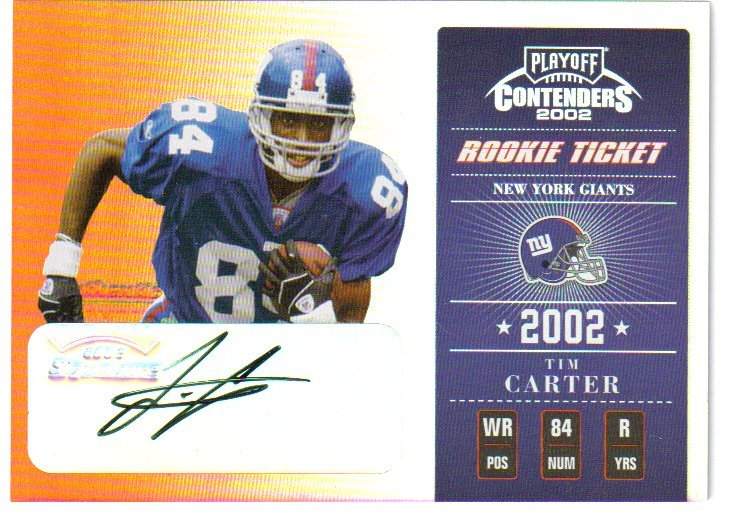 2002 Playoff Contenders #174 Tim Carter AU/600 RC