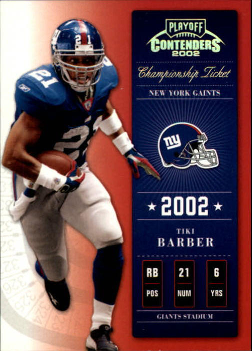 2002 Playoff Contenders Championship Ticket #57 Tiki Barber