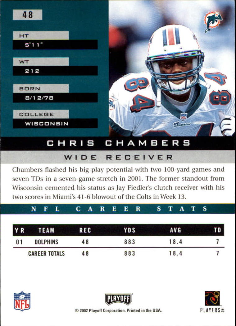 2002 Playoff Honors #48 Chris Chambers back image