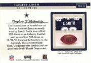 2002 Playoff Piece of the Game Materials #20F Emmitt Smith FB SP back image
