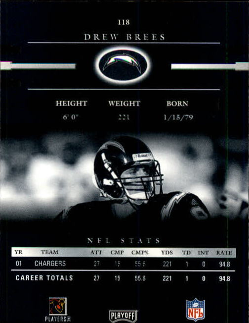 2002 Playoff Prestige #118 Drew Brees