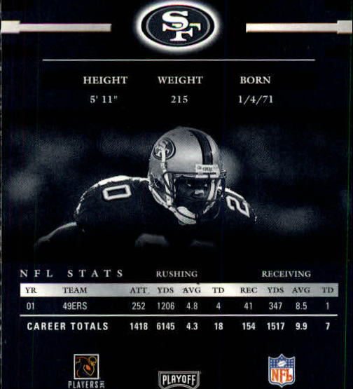 2002 Playoff Prestige #125 Garrison Hearst back image