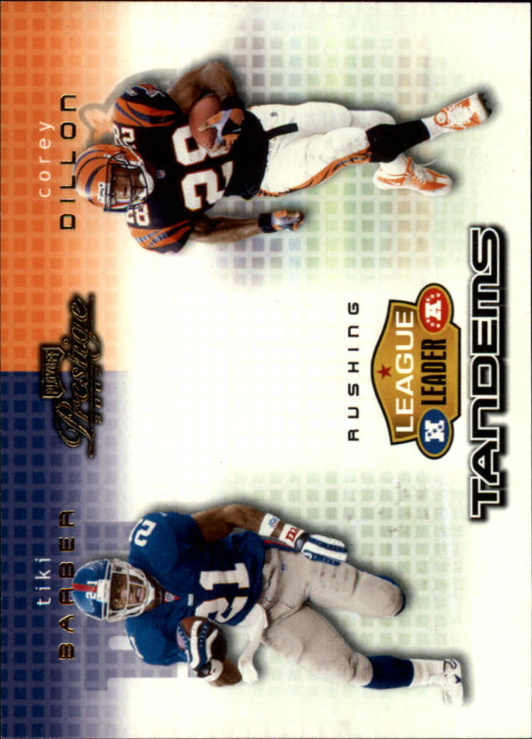 2002 Playoff Prestige League Leader Tandems #LL12 Corey Dillon/Tiki Barber