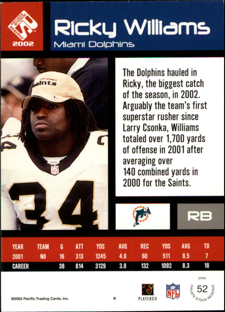 2002 Private Stock #52 Ricky Williams back image