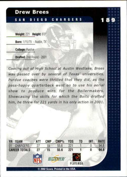 2002 Score #189 Drew Brees back image