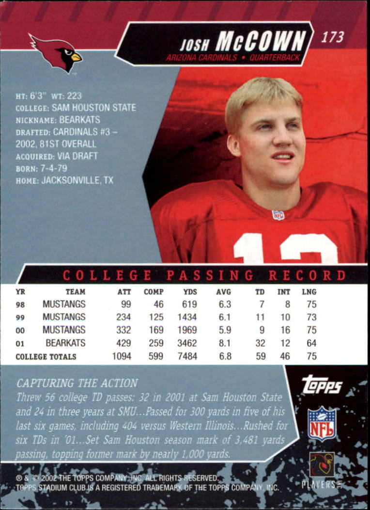 2002 Stadium Club #173 Josh McCown RC back image