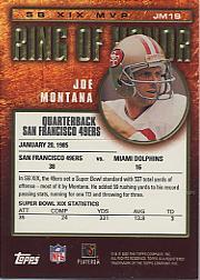 2002 Topps Ring of Honor #JM19 Joe Montana back image
