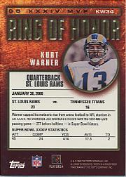 2002 Topps Ring of Honor #KW34 Kurt Warner back image