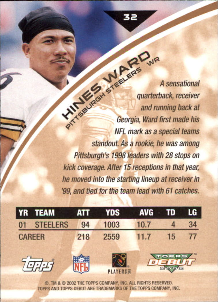 2002 Topps Debut #32 Hines Ward back image