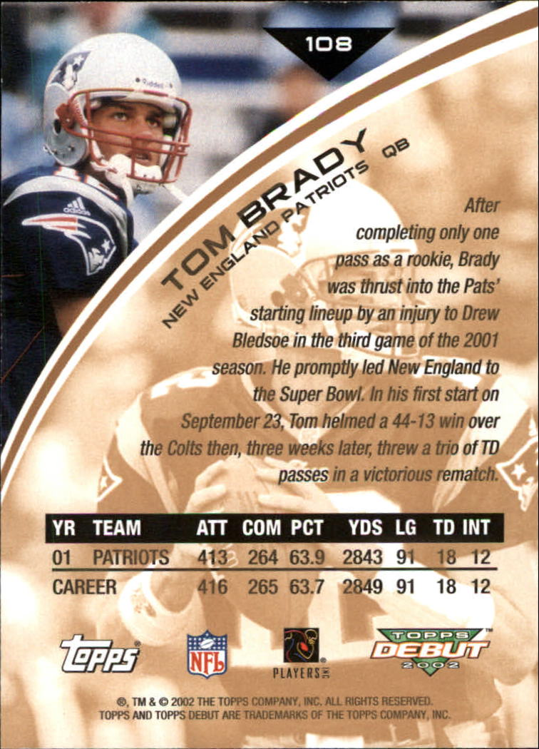 2002 Topps Debut #108 Tom Brady back image