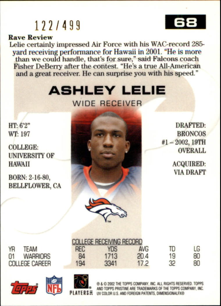2002 Topps Pristine #68 Ashley Lelie R back image