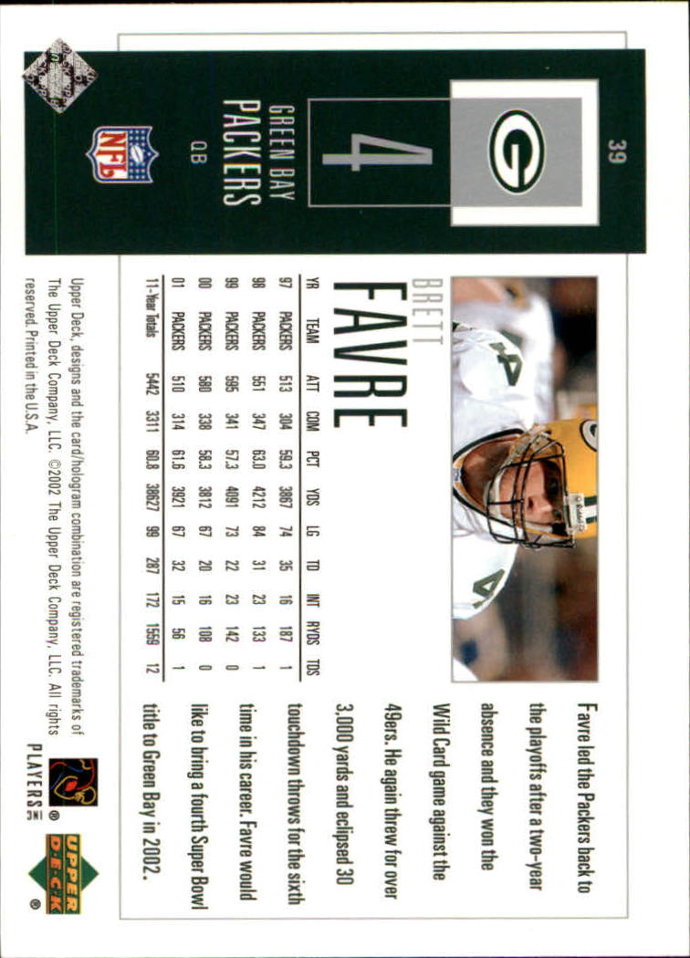 2002 UD Piece of History #39 Brett Favre back image