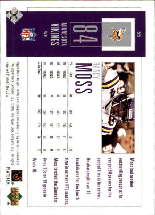2002 UD Piece of History #55 Randy Moss back image