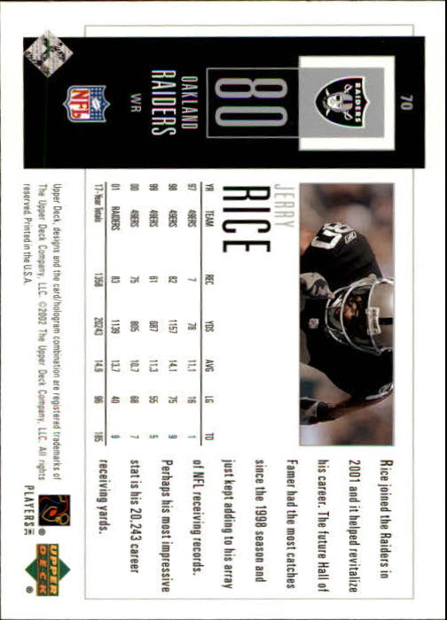2002 UD Piece of History #70 Jerry Rice back image