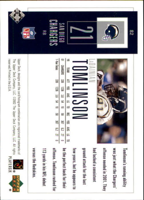 2002 UD Piece of History #82 LaDainian Tomlinson back image