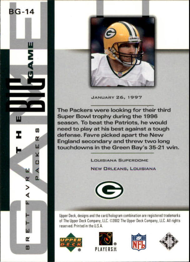 2002 UD Piece of History The Big Game #BG14 Brett Favre back image