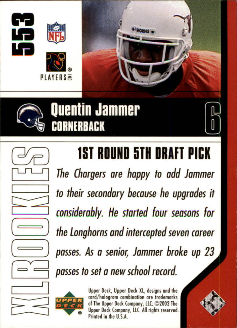 2002 Upper Deck XL #553 Quentin Jammer RC back image