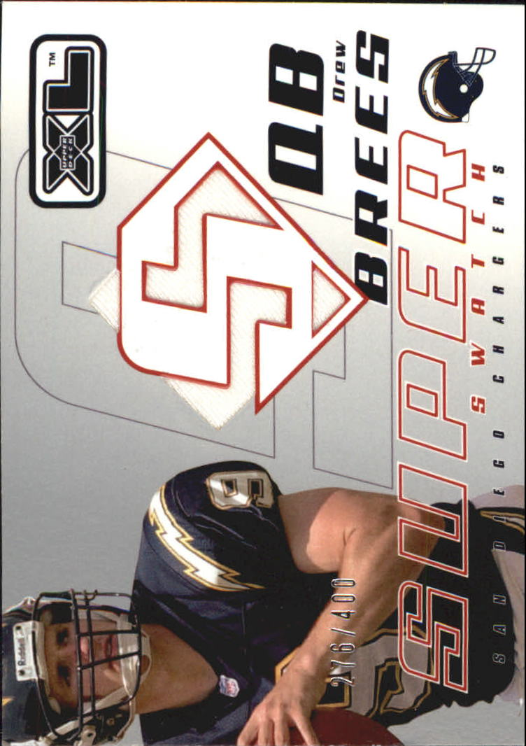 2002 Upper Deck XL Super Swatch Jerseys Grey Background #SSDR Drew Brees/400