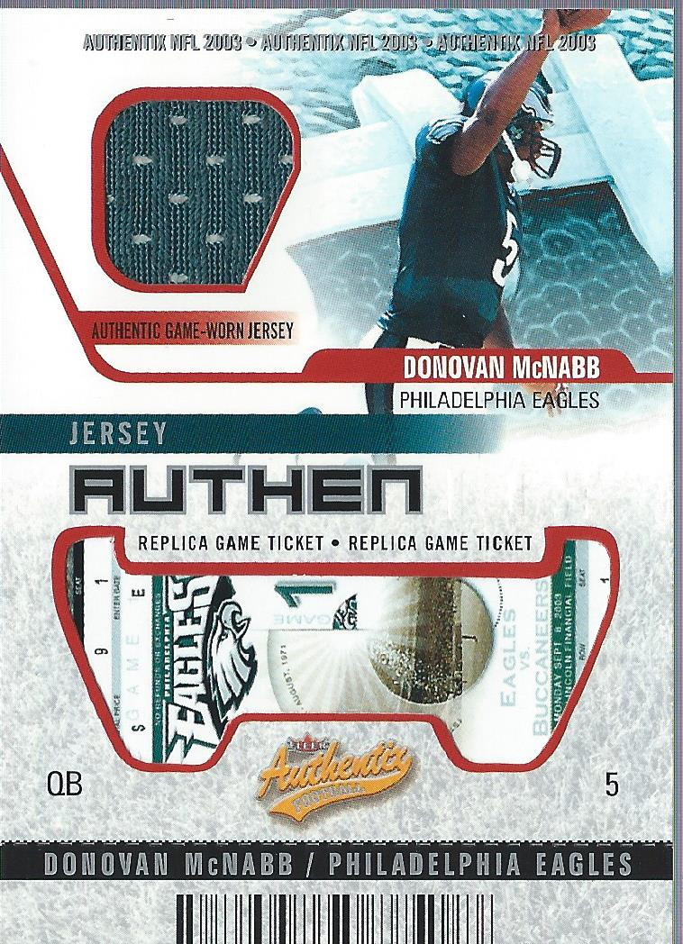 2003 Fleer Authentix Jersey Authentix Ripped #JADM2 Donovan McNabb