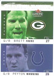 2003 Fleer Genuine Insider Touchdown Threats #2 Brett Favre/Peyton Manning
