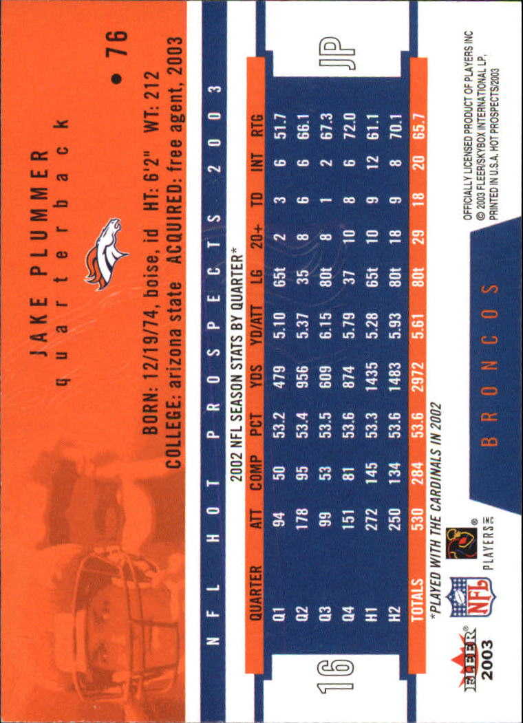 2003 Hot Prospects #76 Jake Plummer back image