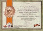 2003 Fleer Snapshot Seal of Approval Jerseys Bronze #SACP Carson Palmer back image