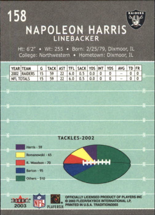 2003 Fleer Tradition #158 Napoleon Harris