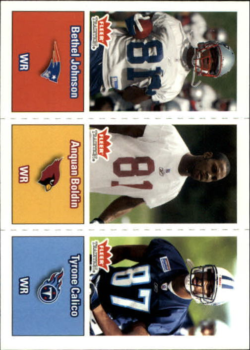 2003 Fleer Tradition #295 Bethel Johnson RC/Anquan Boldin RC/Tyrone Calico RC